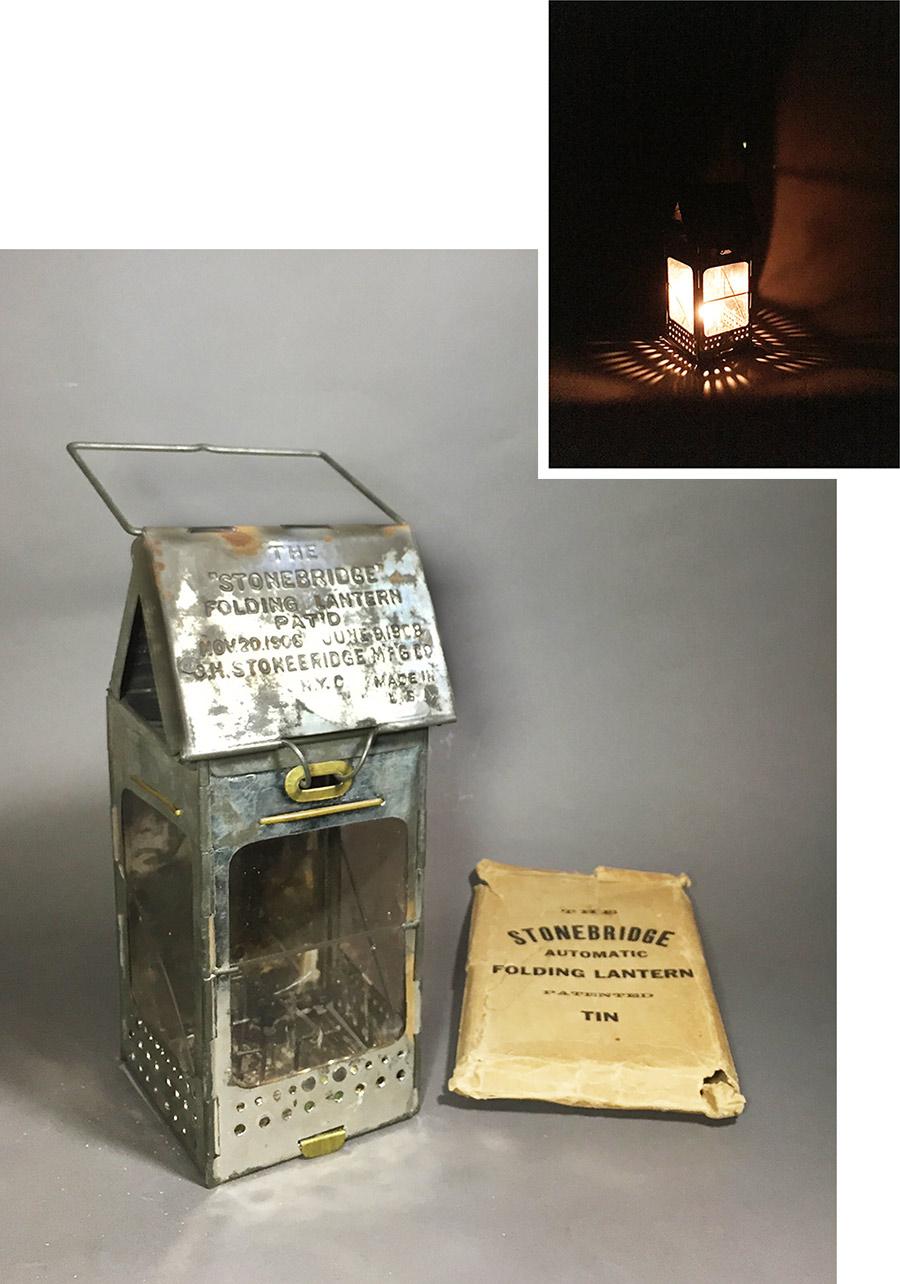 画像1: 1910-20's Steel Folding Candle Lantern (1)