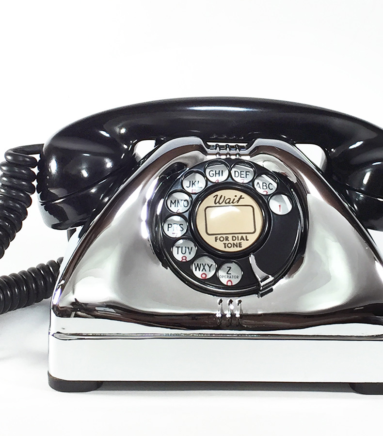 画像1: - 実働品 - Early 1950's U.S.ARMY Chromed Telephone 【BLACK × SILVER】 (1)