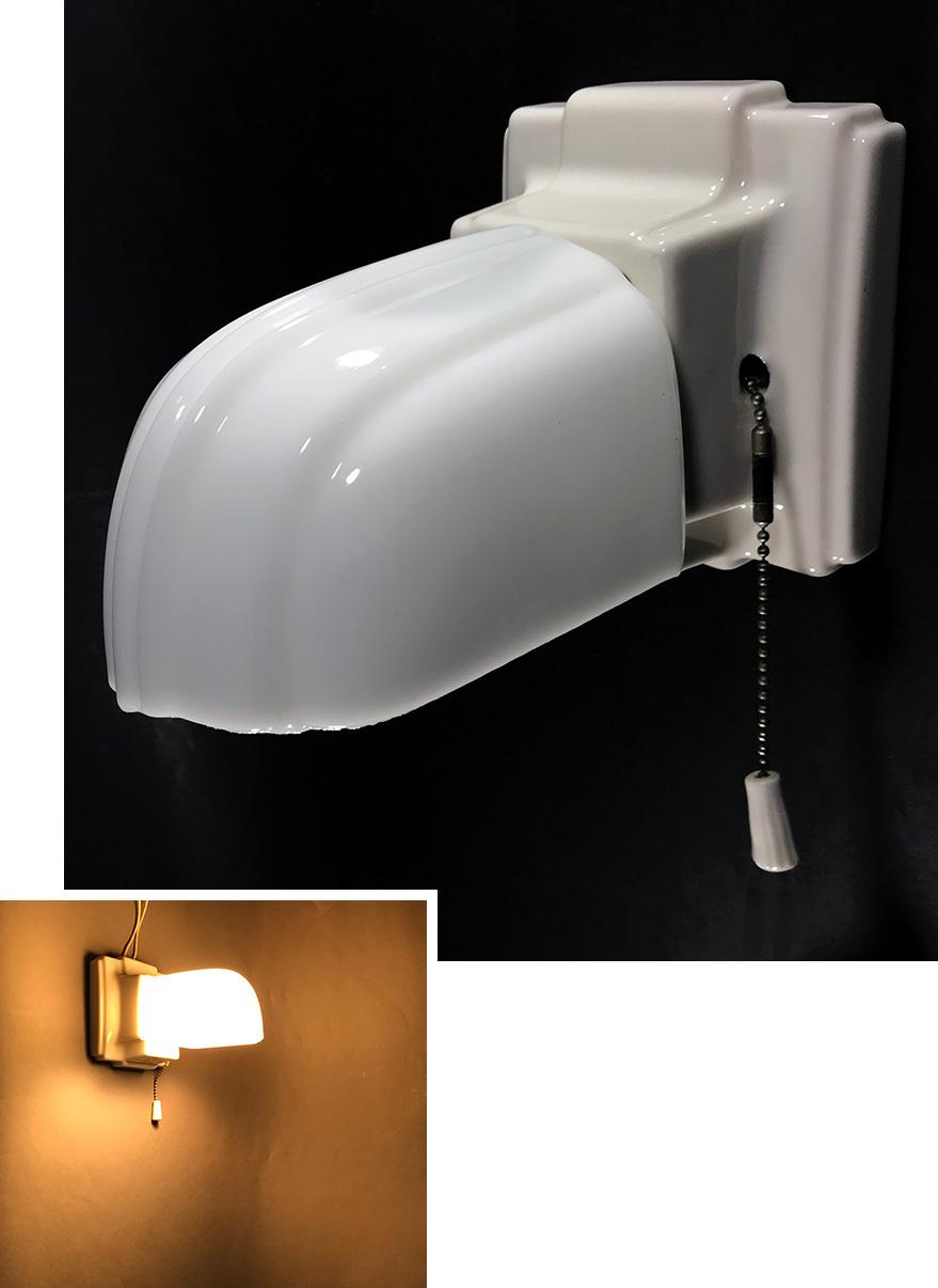 """画像1: 1930's Art Deco """"Porcelain&Milk Glass"""" Bathroom Lamp (1)"""