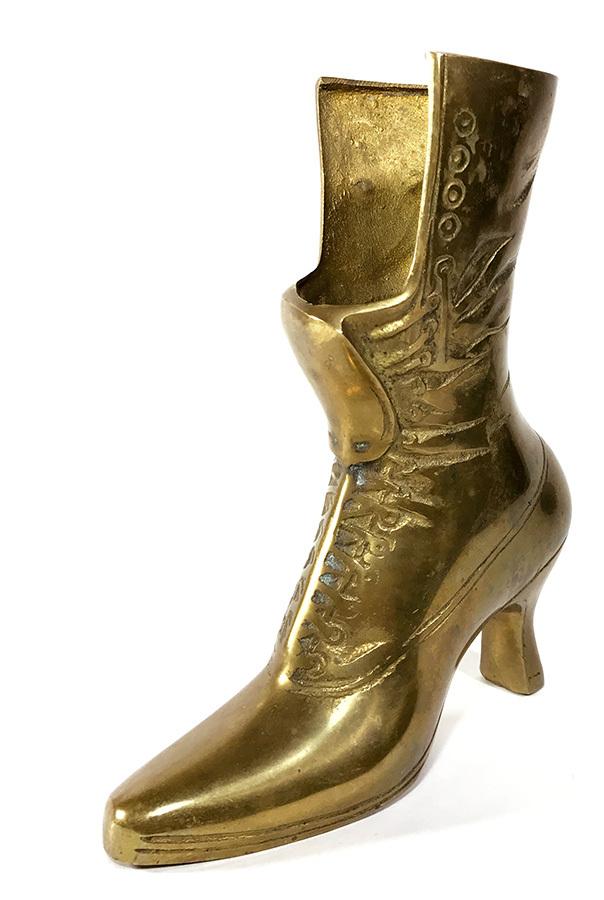 """画像1: Solid Brass Victorian Style """"Ladies Boot"""" Vase (1)"""