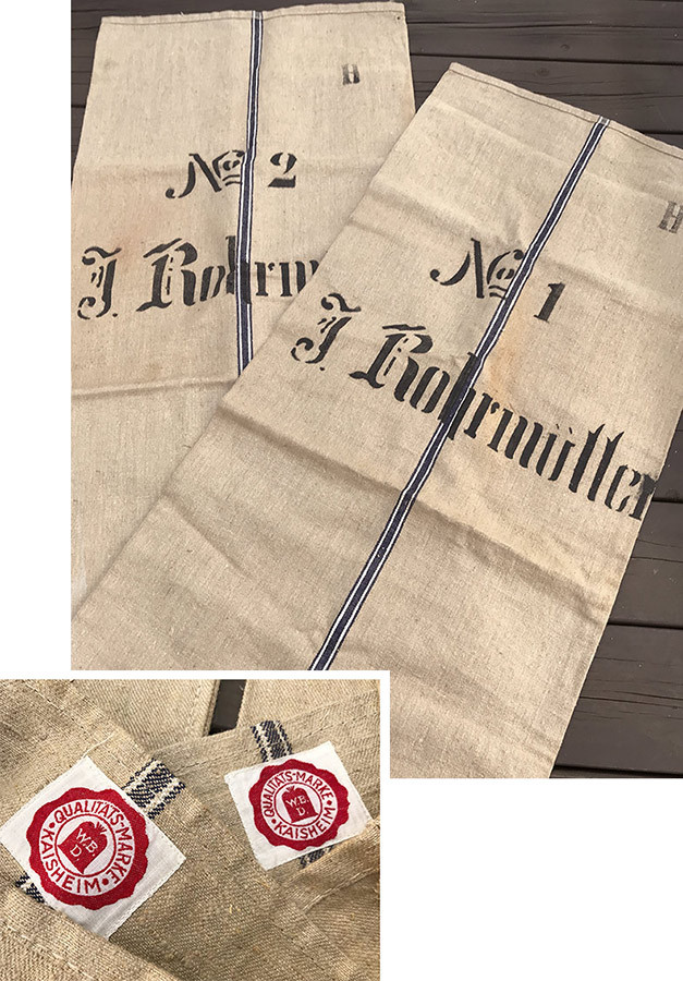 画像1: Early-1930's  German Linen Grain Sack 【特大!!- 2枚セット】 (1)