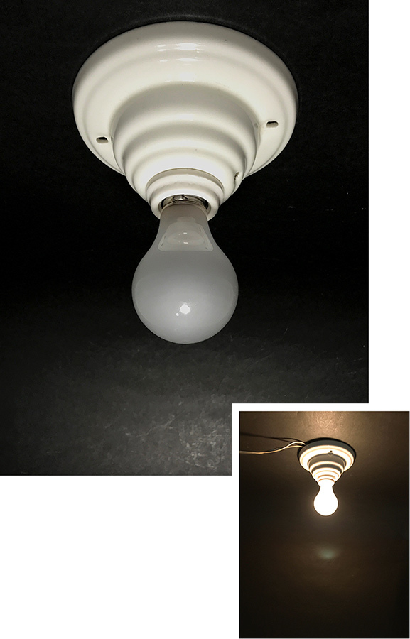 """画像1: 1930-40's Art Deco Porcelain """"Bare Bulb"""" Light (1)"""