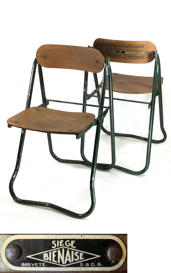 画像1: 1940-50's ☆BIENAISE☆ Folding Chair 【2脚セット】 (1)