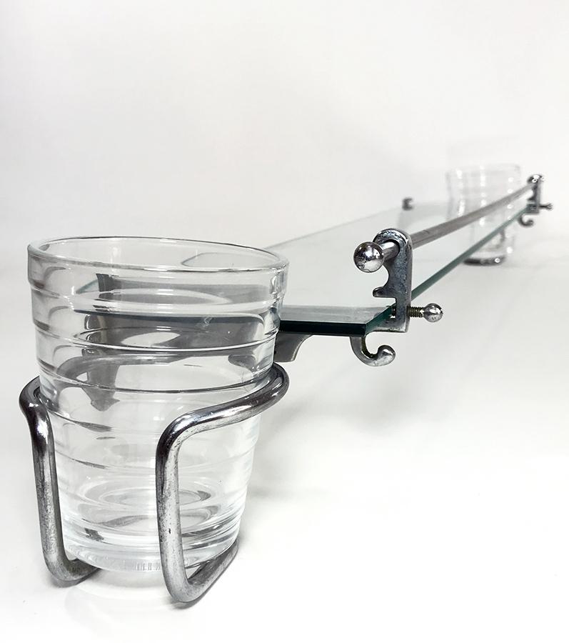 画像1: 1930's【Art Deco】 German Bathroom Glass Shelf w/ Cup holder (1)