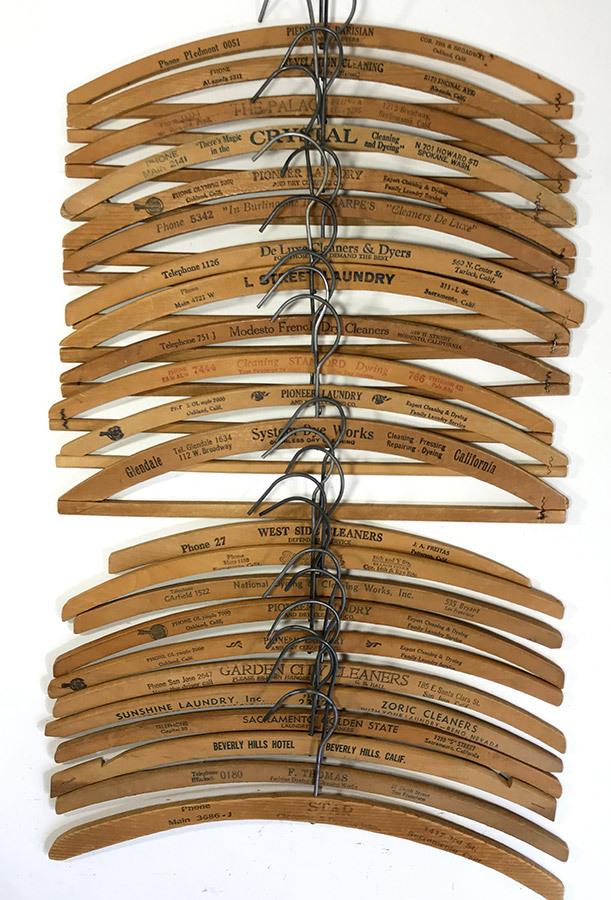 """画像1: 23-sets """"Advertising"""" Wood Hangers + 3-Plain Hangers(おまけ) (1)"""