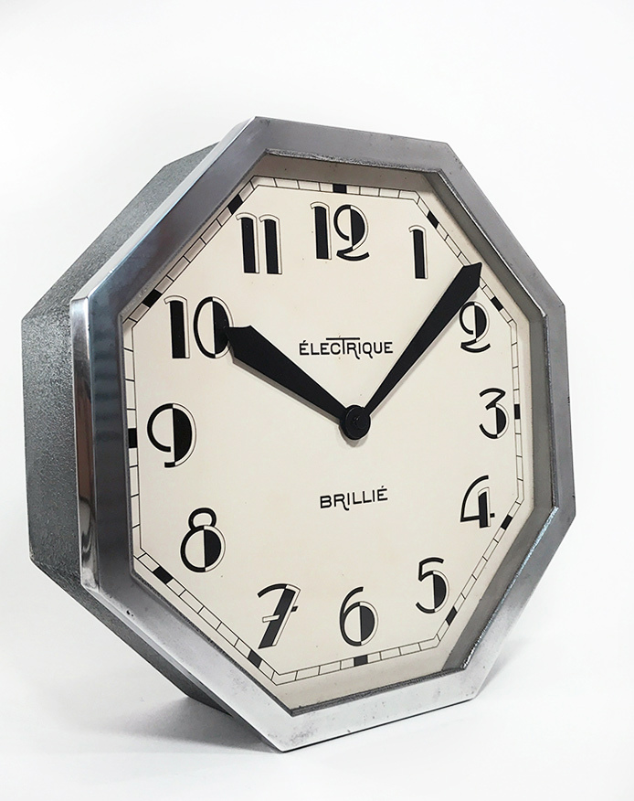 "画像1: 1930's French ""Art Déco"" Octagon Wall Clock 【超・Mint Condition】 (1)"