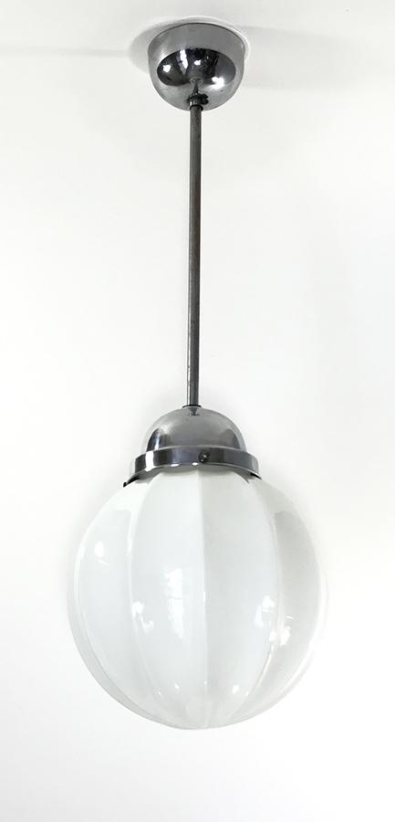 """画像1:  1930-40's Art Deco """"Milk Glass"""" Ceiling Light  (1)"""