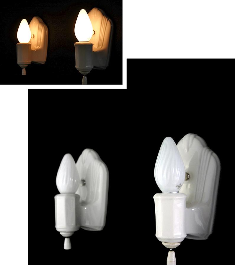 """画像1: 1930-40's """"PAIR"""" Art Deco Porcelain Candle Lamp (1)"""