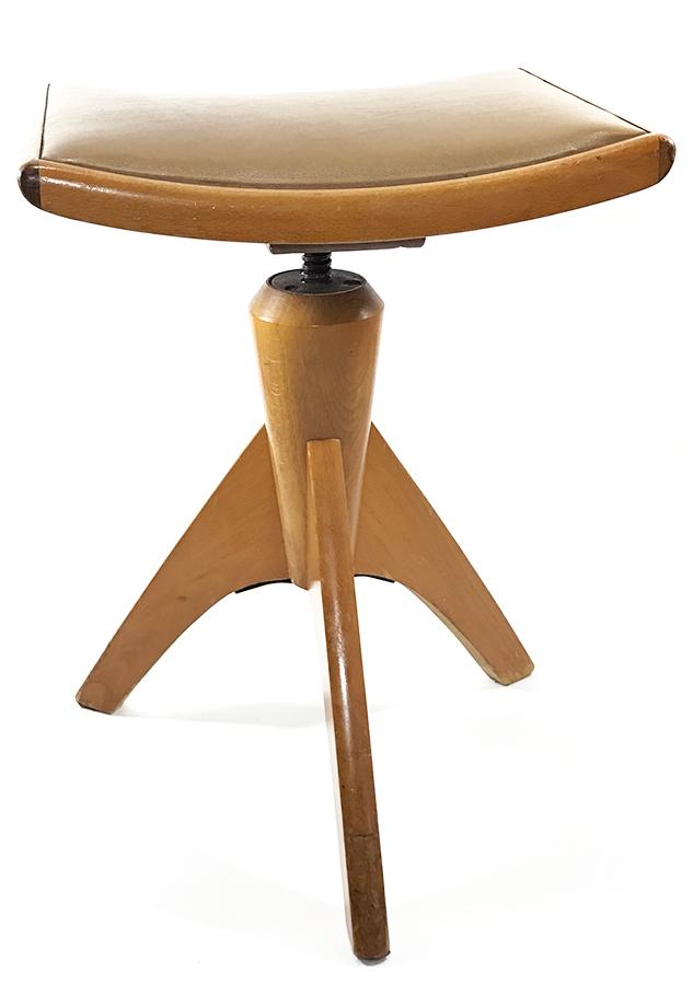 """画像1: Late 1940's-1950's """"ART DECO"""" Germany Wooden Piano Stool (1)"""