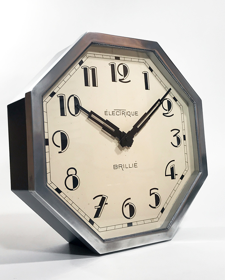 "画像1: 1930's French ""Art Déco"" Octagon Wall Clock (1)"