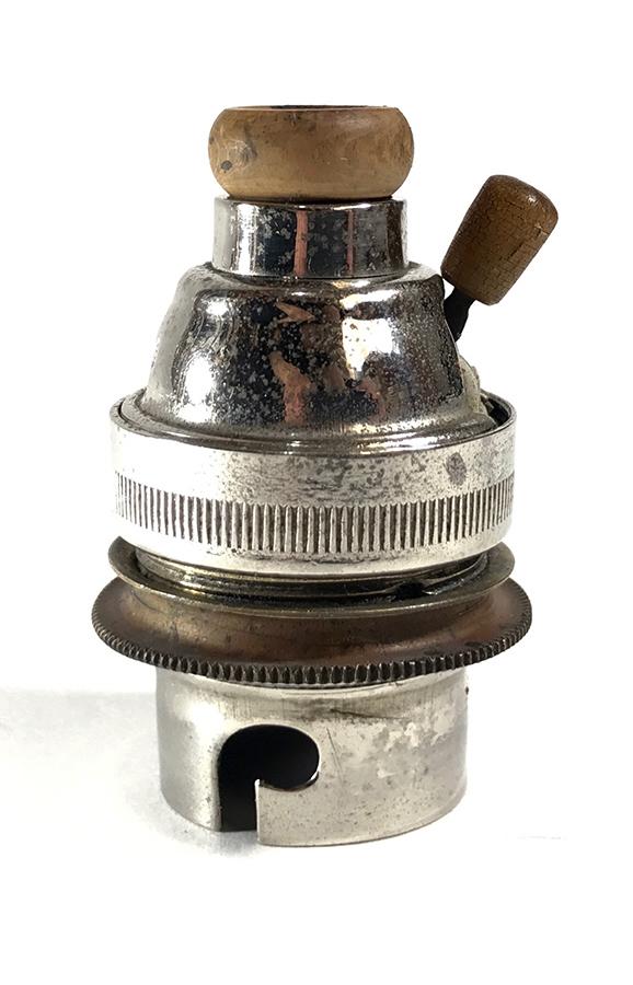 画像1: Rare 1920-30's Nickeled-Brass Lamp Socket 【B22】 (1)