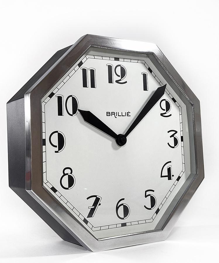"""画像1: ★BLACK & SILVER★  1930's French """"BRILLIE"""" Octagon Wall Clock 【超・Mint Condition】 (1)"""