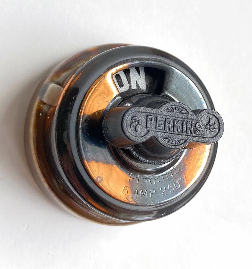 画像1: 1900-10's【PERKINS】Copper&Porcelain Rotary Switch  Dead-Stock (1)