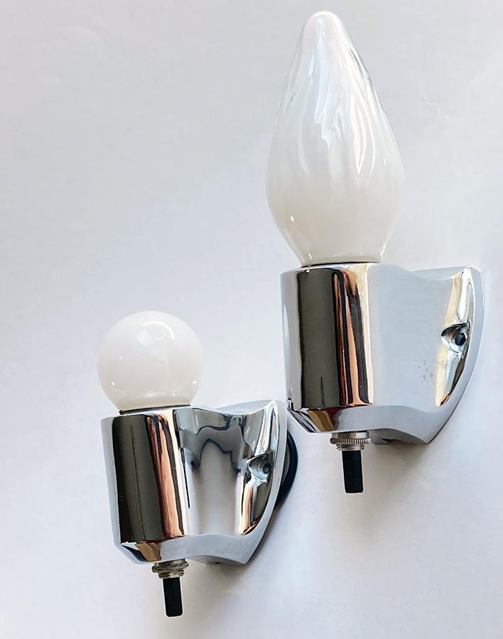 """画像1: 1950-60's """"PAIR""""Chrome Candle Lamp  【箱付きデッドストック】 (1)"""