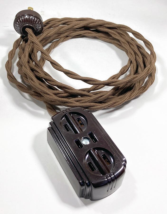 画像1: 1930-40's【4メーター】Extension Cord + Bakelite 3-Outlet -*残り8台*- (1)
