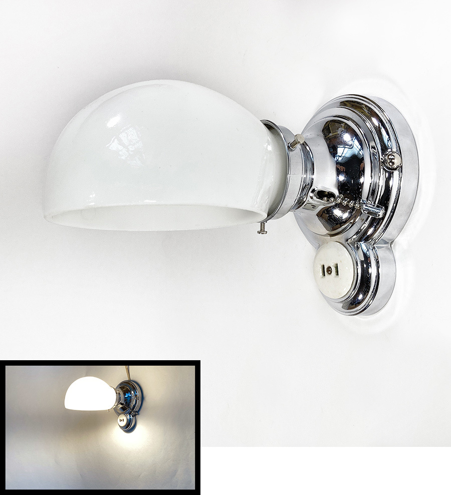 """画像1: 1930's Art Deco """"Chrome"""" Bathroom Lamp (1)"""