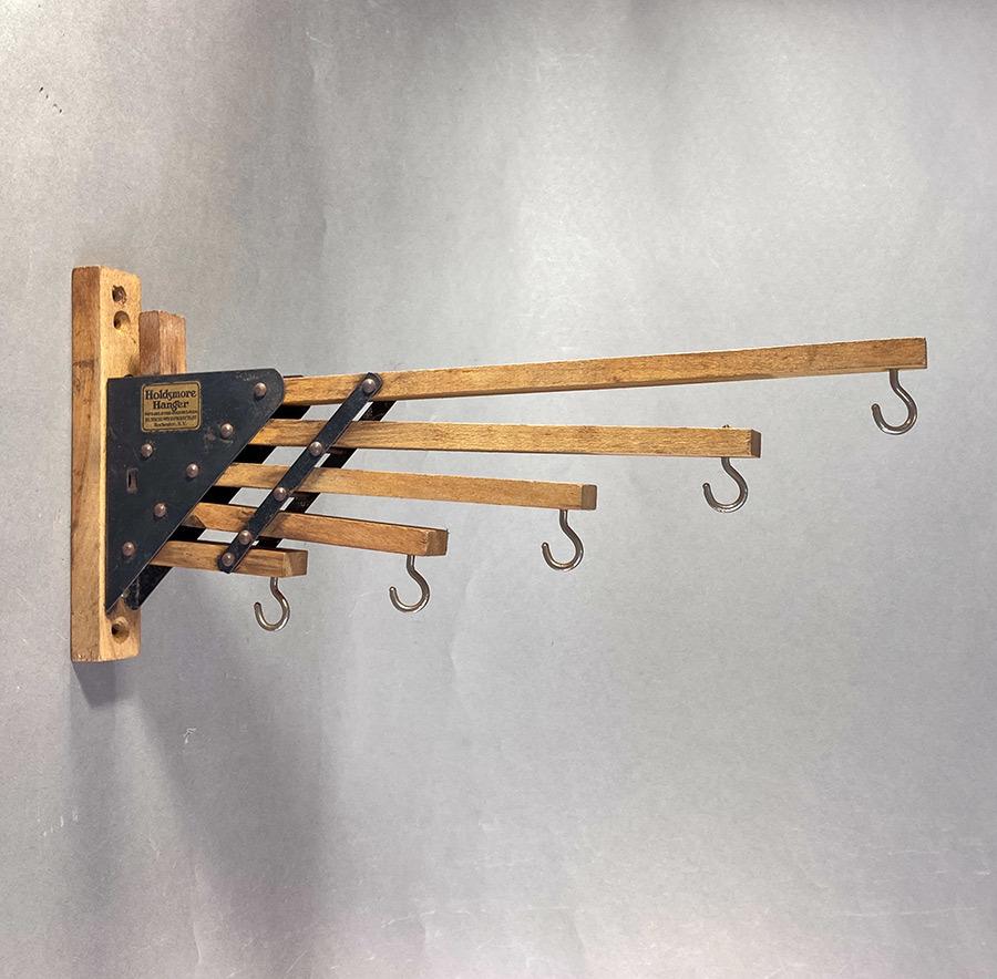 """画像1: 1920-30's """"Holds more Hanger"""" Wood&STEEL Folding Hanger (1)"""
