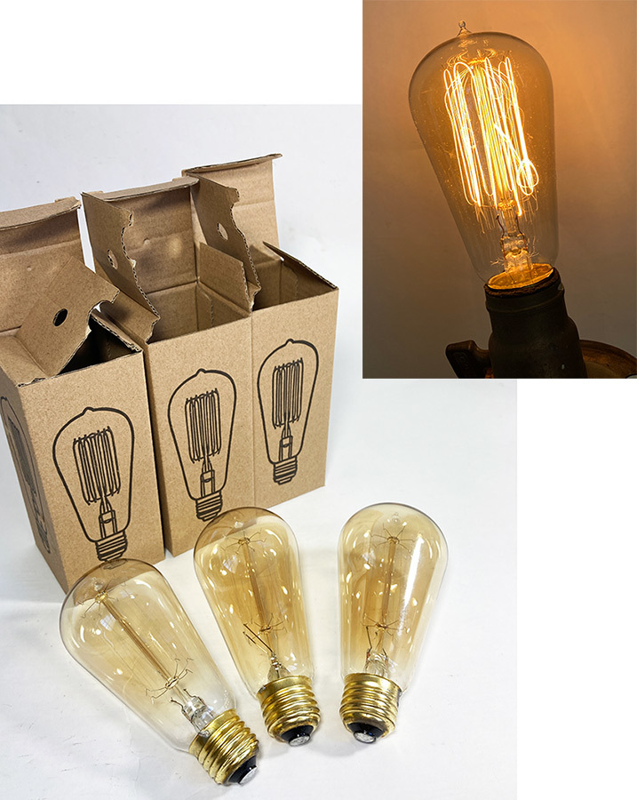 "画像1: 【NEW】 ""Edison"" Filament  Bulbs  120V 60W  -*ラスト1個*- (1)"