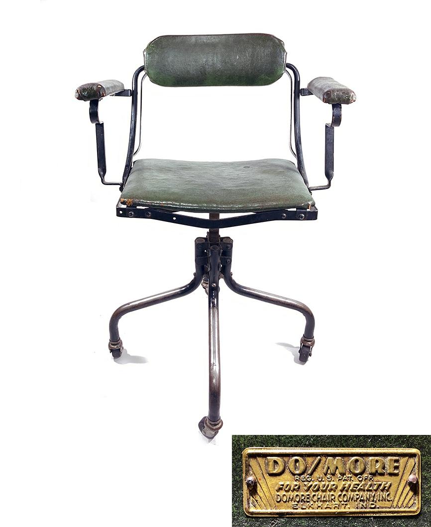 """画像1: ★ DoMore Chair Co.★  1910-20's """"Machine age"""" Swivel Desk Chair (1)"""