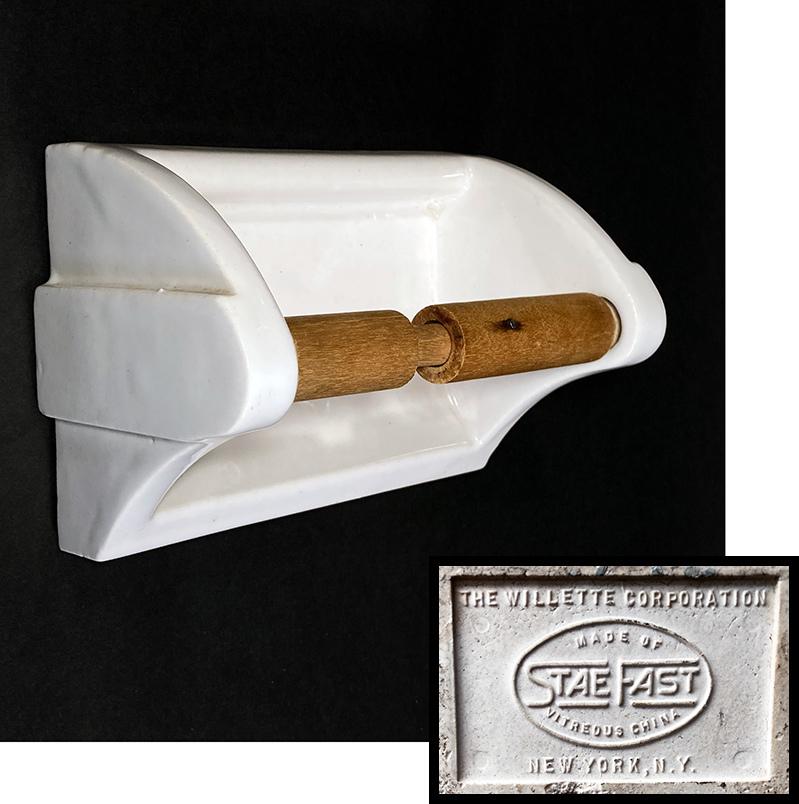 """画像1: 1920-30's Art-Deco """"Porcelain"""" Toilet Paper Holder (1)"""