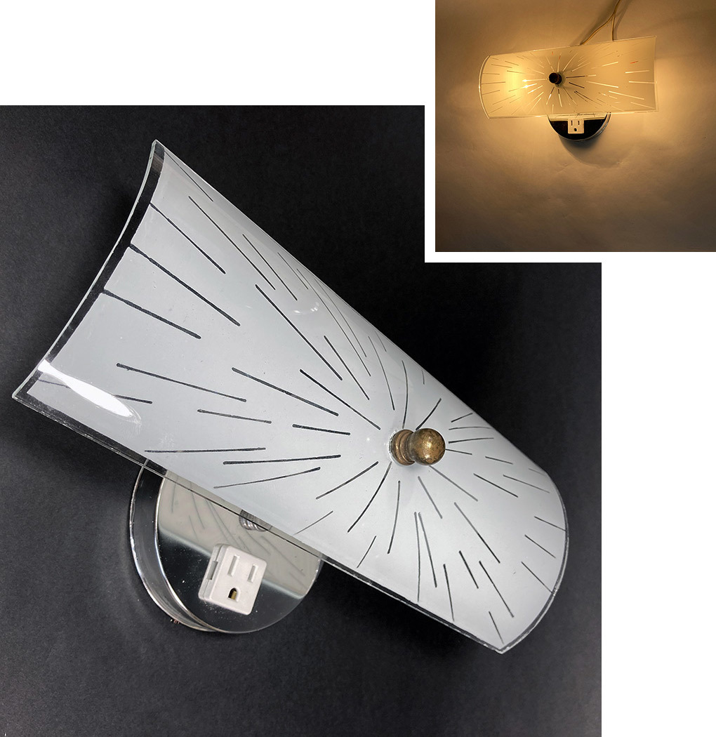 "画像1:  1970's ""Mid-Century"" Starburst Glass Shade Bathroom Sconce (1)"