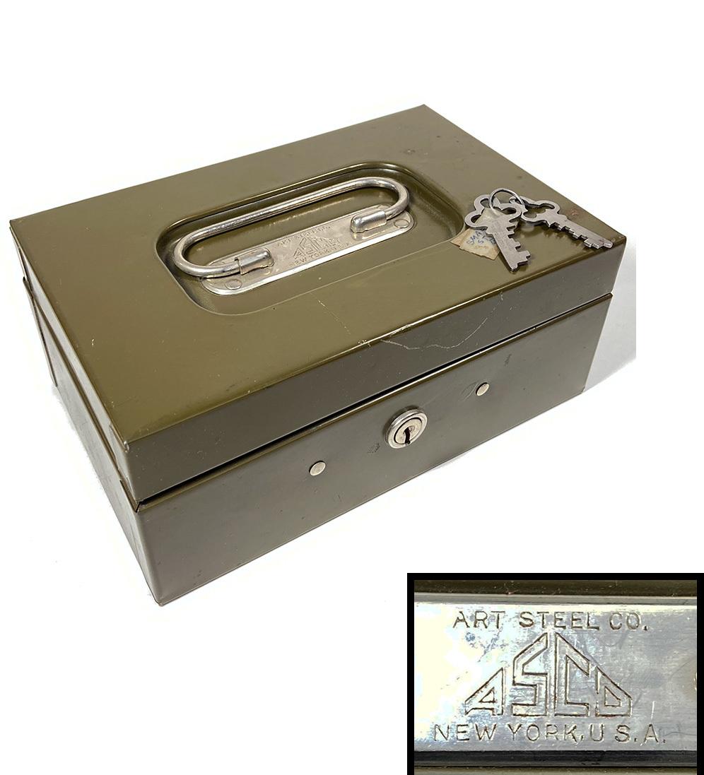 """画像1: 1950-60's """"ASCO NEW YORK"""" Steel Safety Box with Key (1)"""