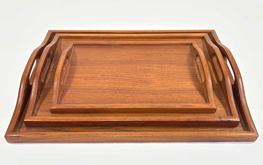 画像1: 1970's Teak Wood Serving Tray  【3サイズセット】 (1)