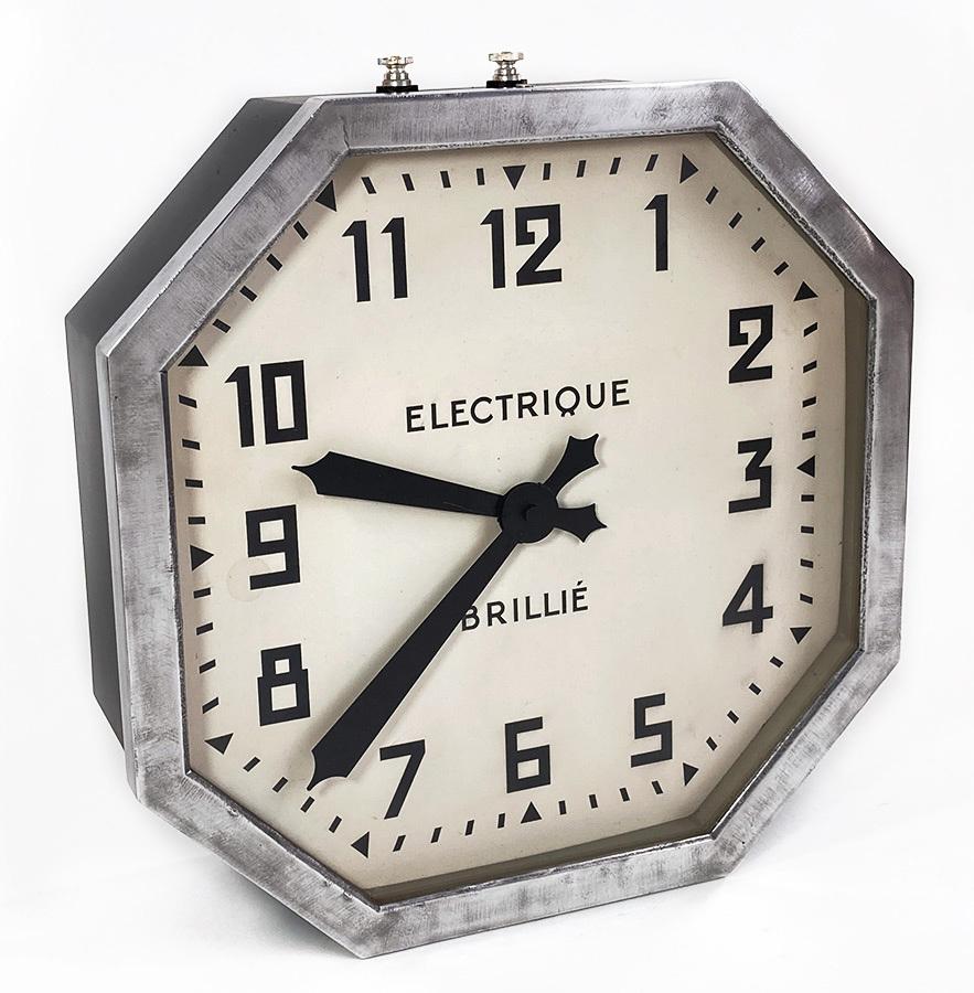 画像1: 1930-40's French【BRILLIE】Octagon Wall Clock (1)