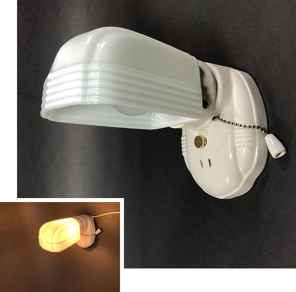 画像1: 1930-40's Art Deco Porcelain Bathroom Lamp (1)