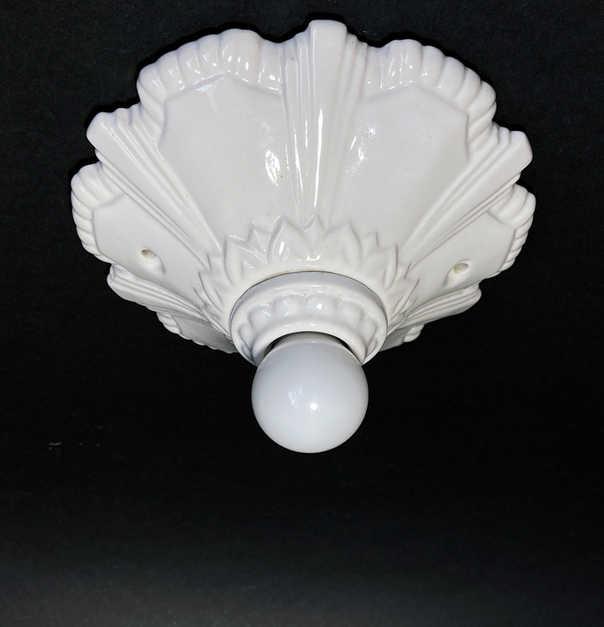 画像1: 1930-40's Art Deco Porcelain Bare Bulb Light (1)