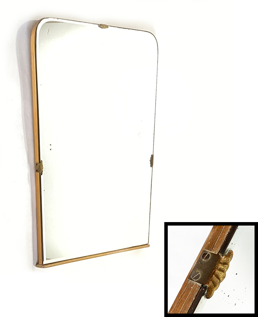"画像1: 1930's【Art Deco】Wooden ""BEVELED-Mirror"" From Italy (1)"
