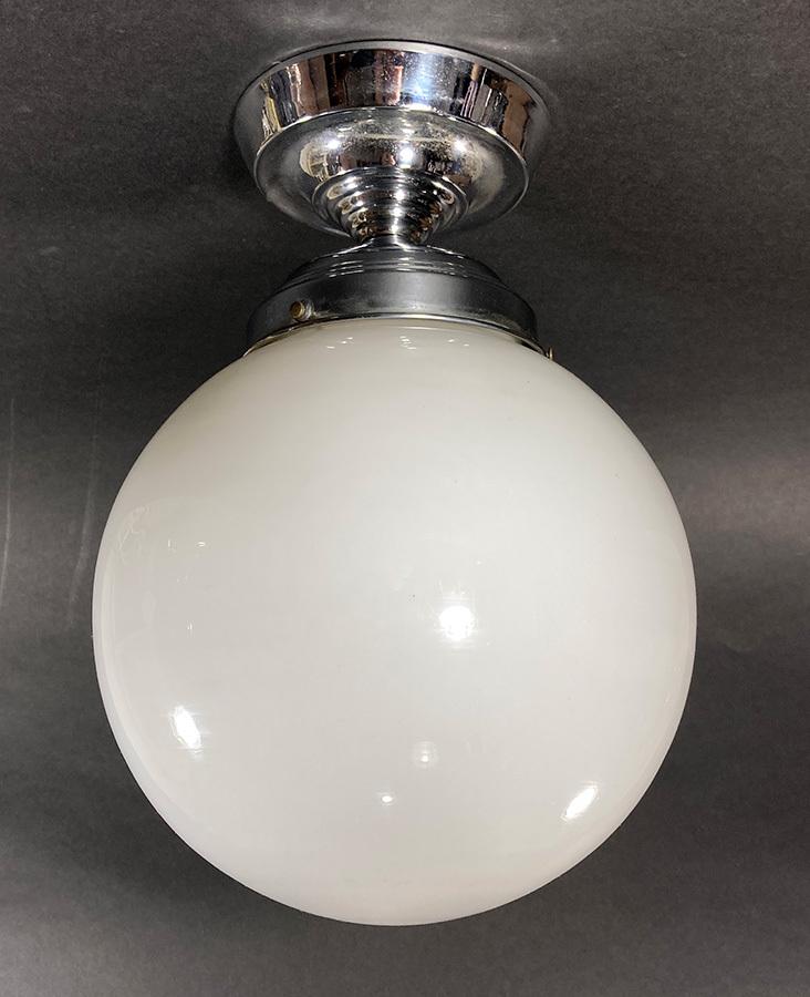 画像1: 1940-50's German Milk Glass Ceiling Light (1)