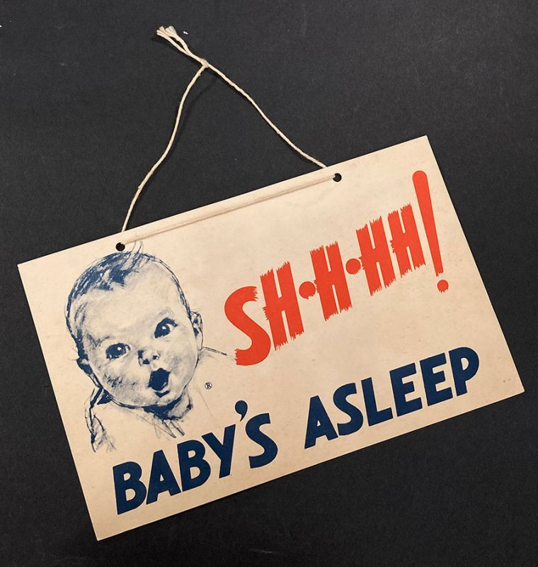 """画像1:  """"Shhh!"""" Baby's Asleep  1950's Vintage Door Sign  (1)"""