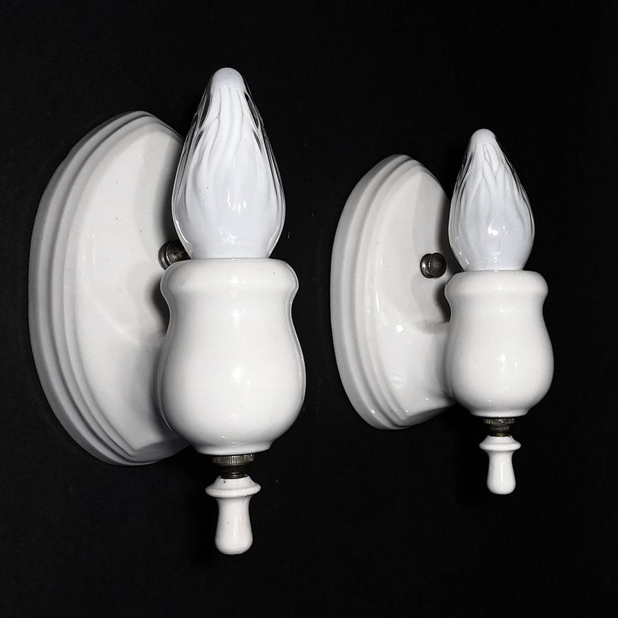 """画像1: 1930's """"PAIR"""" Art Deco Porcelain Candle Lamp (1)"""