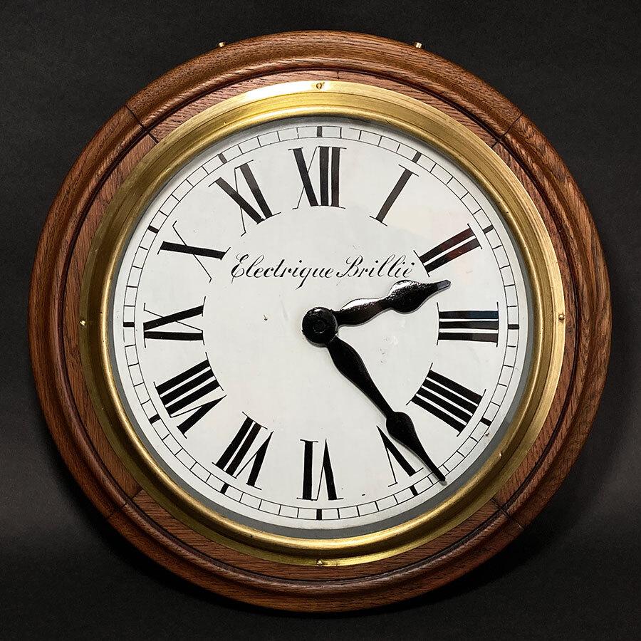 画像1: 1890-1910's ★BRILLIE★ French Wooden Wall Clock (1)