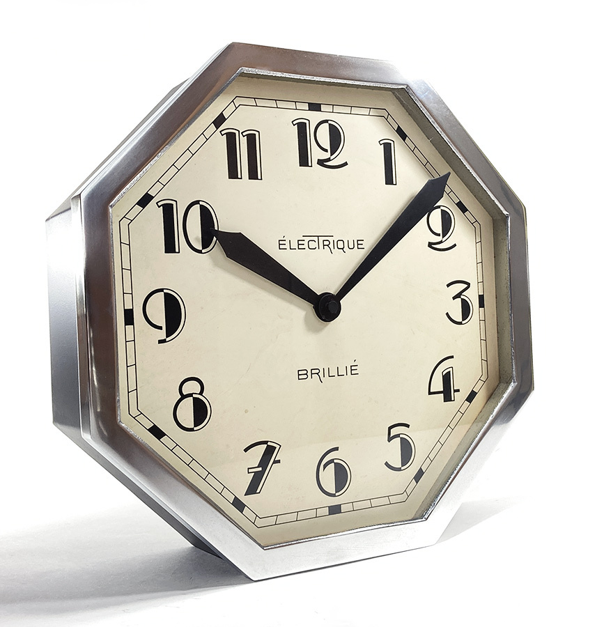 画像1: 1930's ★BRILLIE★  French Octagon Wall Clock  【Mint Condition】 (1)