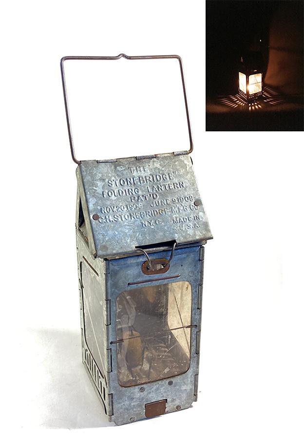 """画像1: 1910-20's """"Galvanized Steel"""" Folding Candle Lantern (1)"""