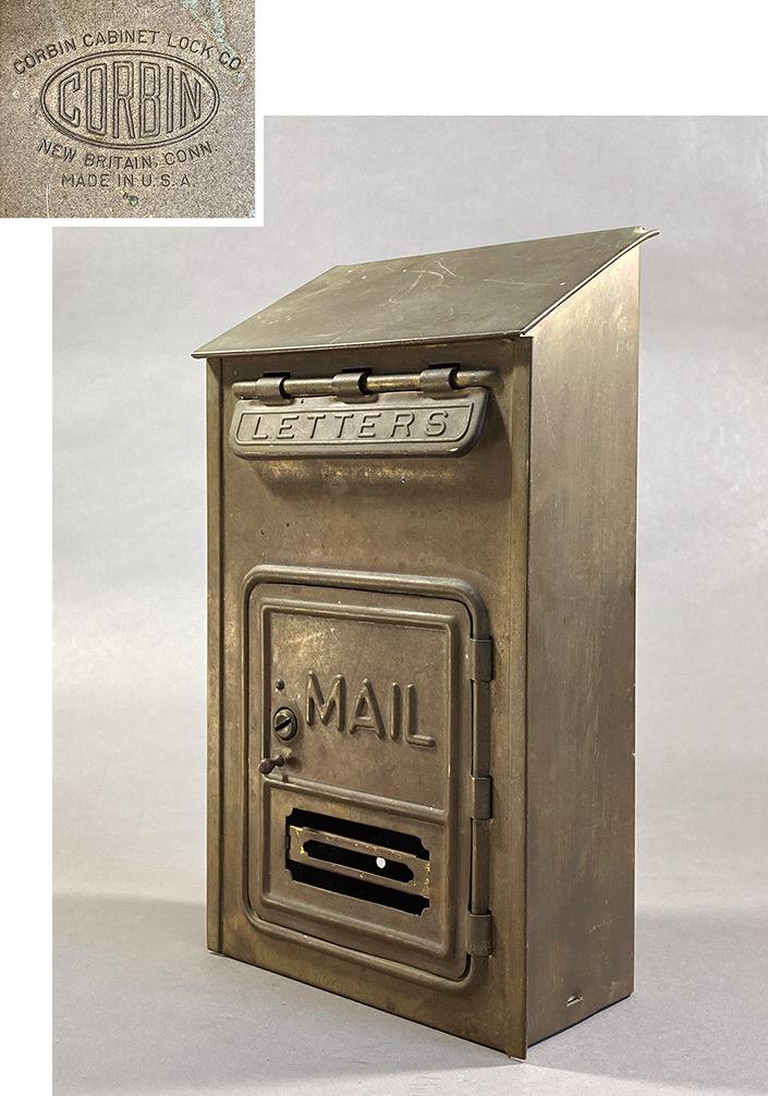 "画像1: 1920-30's ""CORBIN LOCK CO."" Brass Wall Mount Mail Box (1)"