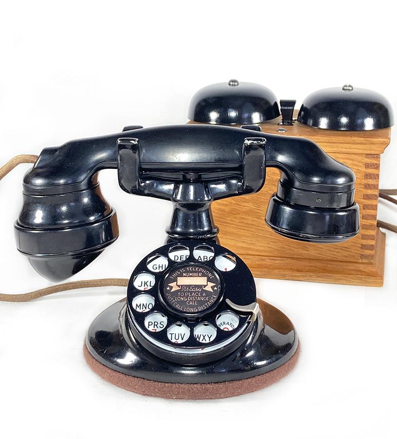 画像1: - 実働品 - 1920's ★Western Electric★ Telephone  with Wood Ringer Box (1)