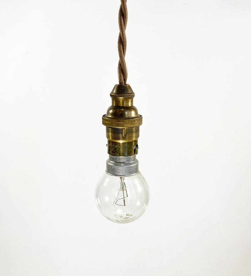 """画像1: 1940-50's """"Bare bulb"""" Brass Pendant Lamp【B22】 (1)"""