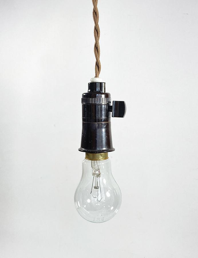 """画像1: 1950-60's """"Bare bulb"""" Bakelite Pendant Lamp【B22】 (1)"""