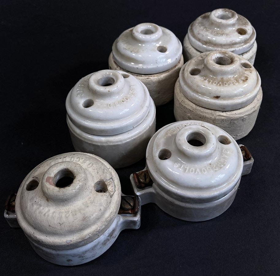 画像1: 1910-20's Porcelain Rosette Lamp parts  【6個セット】 (1)