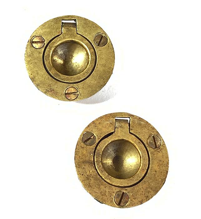 """画像1: 1920-40's Cast Brass """"Cabinet"""" pull handles  【2-sets + マイナスビス付き】 (1)"""