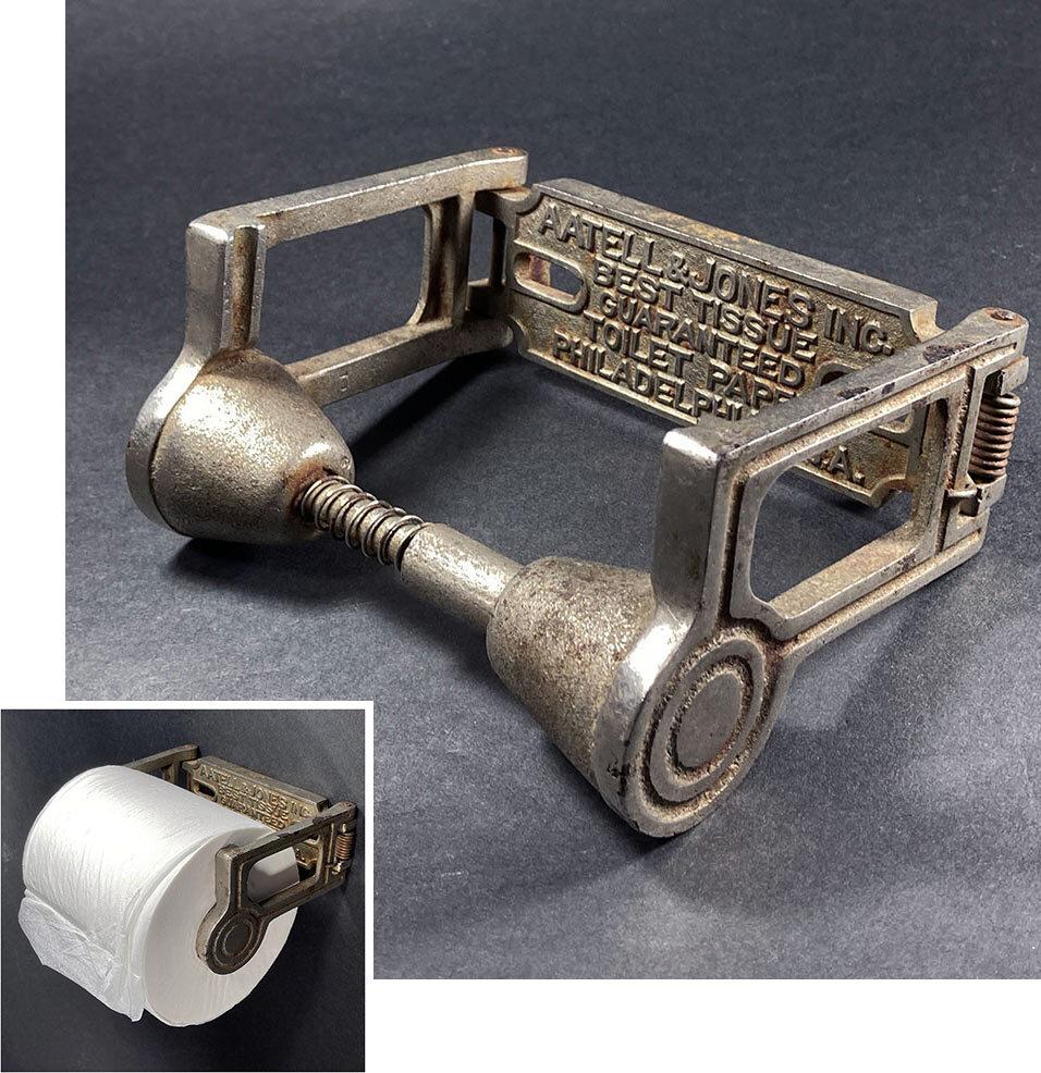 """画像1: 1890-1910's  """"AATELL & JONES """" Cast Iron Toilet Paper Holder  【幅狭 - ECOタイプ】 (1)"""
