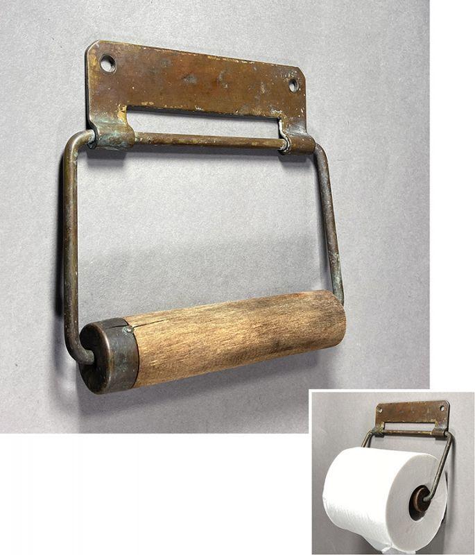 """画像1:  1890-1910's """"Solid Brass"""" Toilet Paper Holder (1)"""