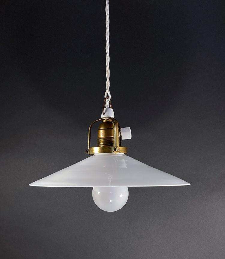 """画像1: 1940's German-Deco """"Milk Glass"""" Pendant Lamp (1)"""