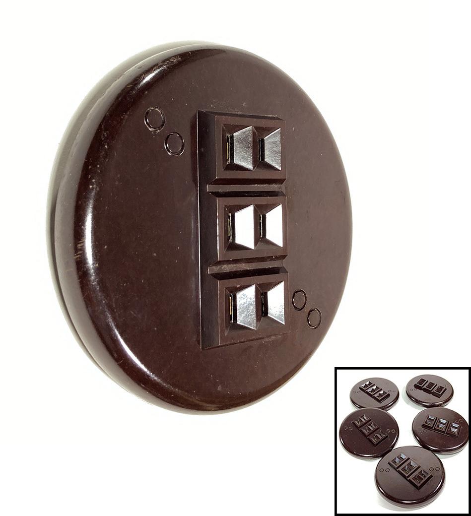 """画像1: ★ Art Deco ★ 1930's【General Electric】""""ROUND"""" Bakelite Outlet  【デッドストック - 5個セット】 (1)"""