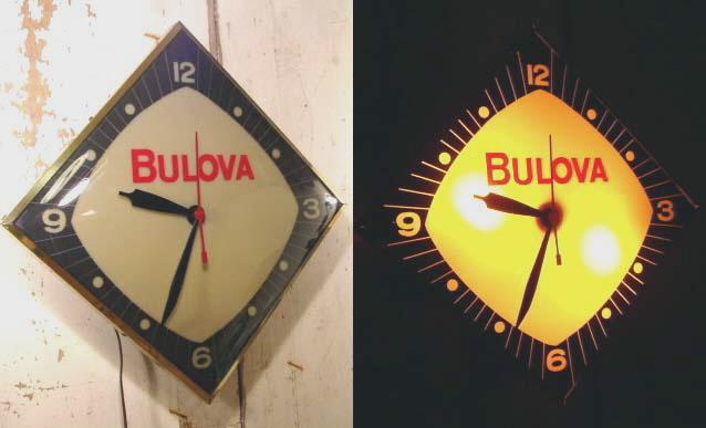 """画像1:  50's BULOVA """"Diamond Shape"""" Light Wall Clock (1)"""