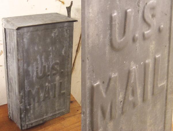 """画像1: 1920-30's Wall Mount Galvanized """"U.S. MAIL"""" BOX (1)"""