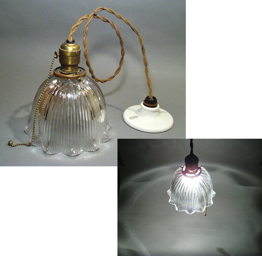 """画像1: 1920-30's """"HOLOPHANE"""" Ribbed Glass Pendant Lamp (1)"""